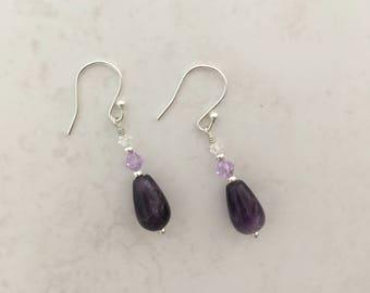 Sterling Silver Amethyst Teardrop Earrings