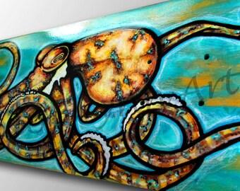 Skateboard Art | Yellow Octopus Painting | Surf Art | Octopus Art | Surf Decor | Beach Decor | Custom Skateboard | Sea Life Art | Tentacles