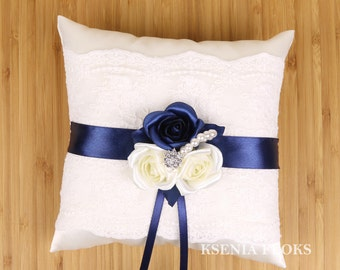Ring Bearer Pillow, Ivory and Navy Blue Ring Pillow, Wedding Ring Bearer Pillow, Lace Ring Pillow, Flowers Pillow, Roses Wedding Pillow