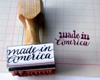 Made in America Stamp, Made in the USA, Rubber Stamp, American Made, Calligraphy, DIY Shop Packaging, United States Stamp