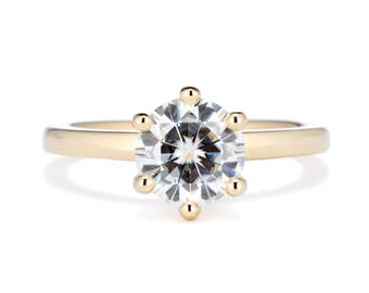 Six Prong Moissanite Solitaire Engagement Ring, 14K Gold 1.5 Carat Forever One Moissanite, Round Solitaire Engagement Ring