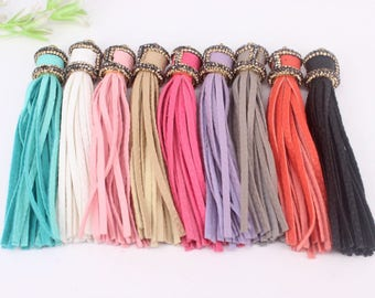 10pcs Fashion leather Tassels,Jewelry Leather Tassel Pendant in Mixed Color,with Crystal Rhinestone Tassel For Jewelry Making