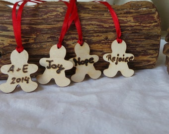 Gingerbread Man Christmas Ornaments, Wood Personalized Ornament, Set of 5