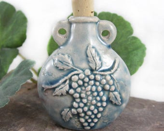 Peruvian Ceramic Raku Grape Cluster Bottle
