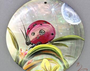 Hand painted  beetles, Hand painted pendant, Hand painted necklace,, Painting beetles, Shell painting beetles.