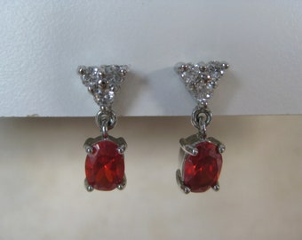 Orange Red Stone Silver Earrings Pierced Post Clear Vintage Dangle Faceted