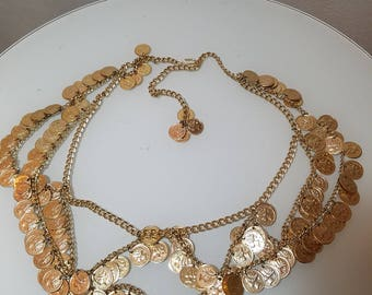 FREE  SHIPPING  Gold Coin Chain Belt