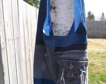 Upcycled Denim Hobo Cross Body Bag