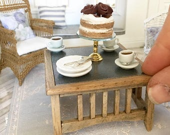Miniature oak coffee table - square with zinc look top - Dollhouse - Roombox - Diorama - 1:12 scale