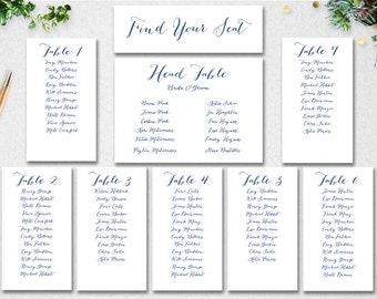 Wedding Seating Chart Template INSTANT DOWNLOAD // Editable // Navy // Printable // Find Your Seat // Table Seating // PDF