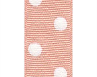 "1.5"" Grosgrain Polka Dots Ribbon- Coral Ice / White - Berwick Offray"
