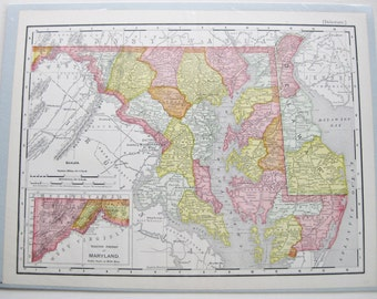 1903 Maryland and Delaware map. Pastel colors. Unframed.