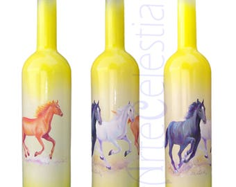 Hand painted vodka bottle with horses
