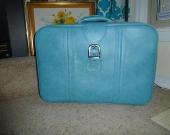 Vintage Blue Soft Side Suitecase Vintage Traveling Retro Suitcase Retro Buckle Suitcase Soft Side Luggage Vintage Luggage