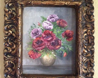 Antique oil painting of flowers in plaster frame RESERVED for Jo