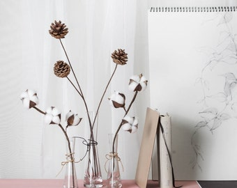 Artificial Pine Cone Stick More Realistic than a Real One for Bud Glass Vase Centerpiece Winter Decor