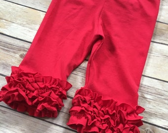 Mini ruffle capri leggings for baby, toddler girls - icing leggings - Size 6 months to 8 girls - Red capris -  Red ruffle capris - icing