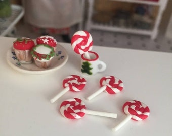 SALE Miniature Candy Cane Lollipops, Set of 5, Dollhouse Miniature, 1:12 Scale, Mini Food, Dollhouse Food, Accessory, Decor, Crafts