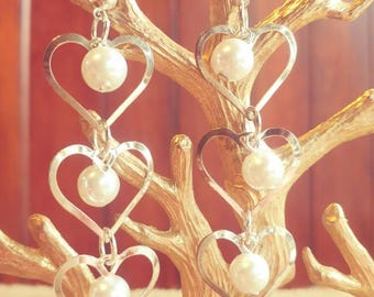 Vintage Heart And Pearl Dangle Earrings
