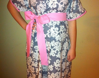 Grey, White and Pink Maternity Hospital Gown