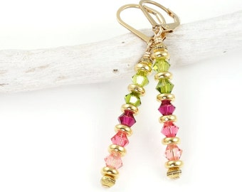 Pink and Gold Earrings Swarovski Crystal Gold Jewelry Stick Earrings in Rose Pink and Olive Green Lever Back Gift for Women Mom Under 20 25