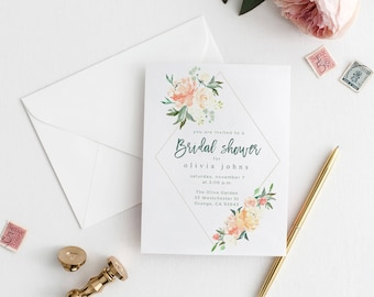 Floral Bridal Shower Invite, Digital Download, Bridal Shower Invitation, Bridal Party, Floral Greenery Bridal Shower