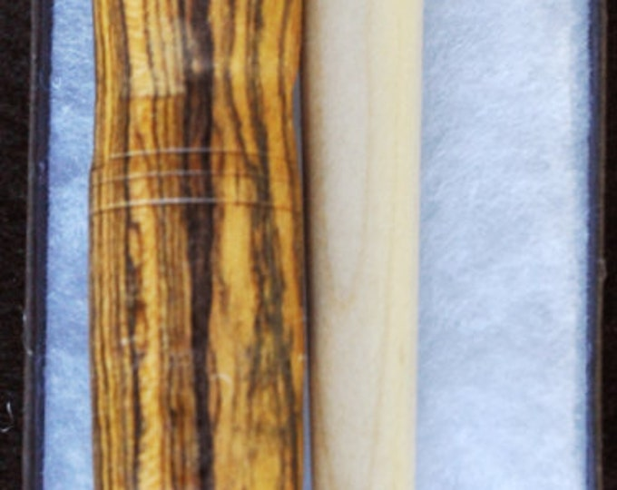 Hand made maple stitch lay helper tool /1- bocote wood needle case/1-beaded magnetic needle minder
