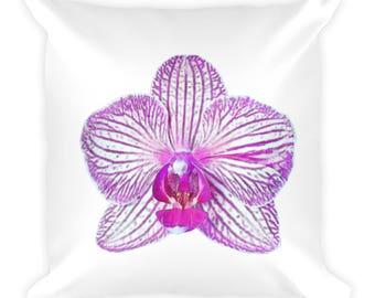 Pink Throw Pillow, Pink Flower Pillow, Pink Decor, Girl's Pink Pillow, Pink Square Pillow, Orchid Art Pillow, Orchid Pillow
