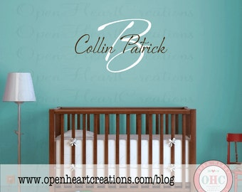 Initial and First and Middle Name Wall Decal Handwritten Modern Style Boy Girl IN0020