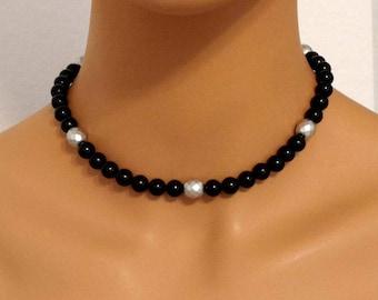 Black Onyx Necklace, Choker Necklace, Black & Sterling, Onyx Necklace, Sterling Silver - AGOriginals - OOAK Original