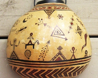 Ancestral Spirit Gourd Decorative Wall Hanging - Artisan Hand-painted Southwest Gourd - Tribal Petroglyph Hand Painted Gourd Decorative Art