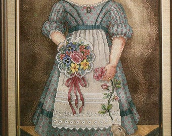 Vintage Cross Stitch Chart -YOUNG GIRL With RABBIT - Victorian  - Pattern Needlework X-Stitch