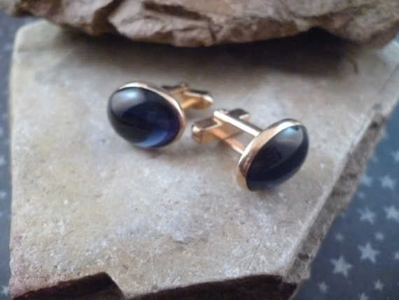 Vintage Swank Cuff Links /Cufflinks with Large Blue Cabochon Glass Stones