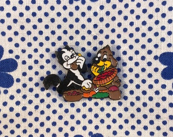 "Enamel Pin ""Pif and Hercules"" Retro Vintage 90's"