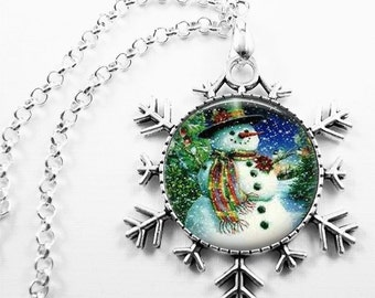 Christmas Necklace Christmas Jewelry Glass Tile Necklace Glass Tile Jewelry Snowman Necklace Snowman Jewelry Snowflake Holiday Jewelry