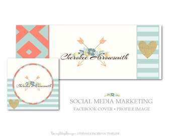 Facebook Cover,Profile Image,Social Media Marketing-Floral,Boho,Arrows,Tribal-Coral,Teal,Beige-Facebook Storefront