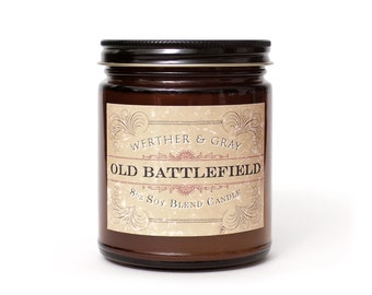 OLD BATTLEFIELD, Scented Candle, Gunpowder, Wood, Laquer, Vintage Decor, Revolutionary War, Civil War, Reenactments, History Themed