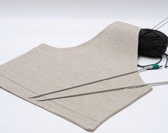 Large Project Bag Natural LINEN... Special KnitterBag design.