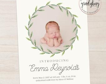 Photo Birth Announcement, Newborn Announcement, Baby Announcement, Birth Card, Photo Baby Card, Girl Birth Announcement, Wreath