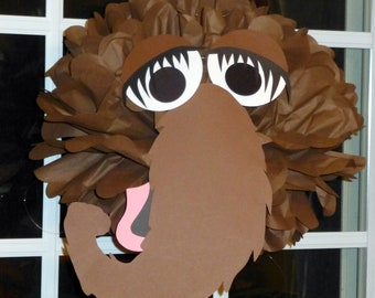 Brown Monster tissue paper pompom kit, inspired by Snuffy Snuffleupagus from Sesame Street
