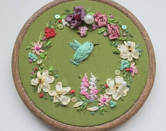 Hummingbird. Embroidered art. Textile art. Wall decor. Nature embroidery. Bird. Silk ribbon embroidery. hoop art. embroidery