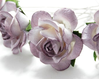 Tickled Purple/ Lilac Rose Floral Hair Pin Set/ Bridal/ Wedding Hair Accessories/ Bridesmaid Hair Pin/ Wedding Flower Pins