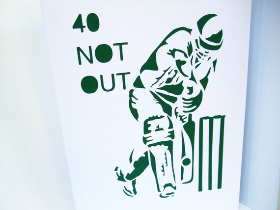 Large a4 cricket birthday card paper cut cricketer card like this item bookmarktalkfo Image collections