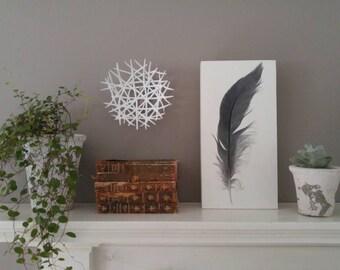 Original Great Blue Heron Feather Art, original watercolor painting, heron, boho decor, home decor, modern design, nature art, decor