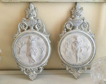Wall Plaques, Vintage Free shipping, set of 2  shabby distressed chic white plastic wall decor bedroom