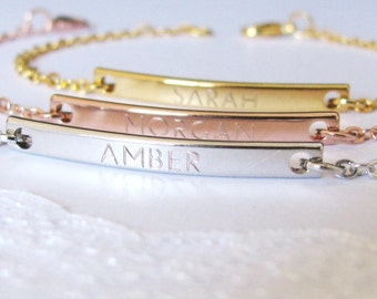 Personalized Bracelets for Women in Gold Plated, Silver Plated or Rose Gold Plated Finish Personalized with Name
