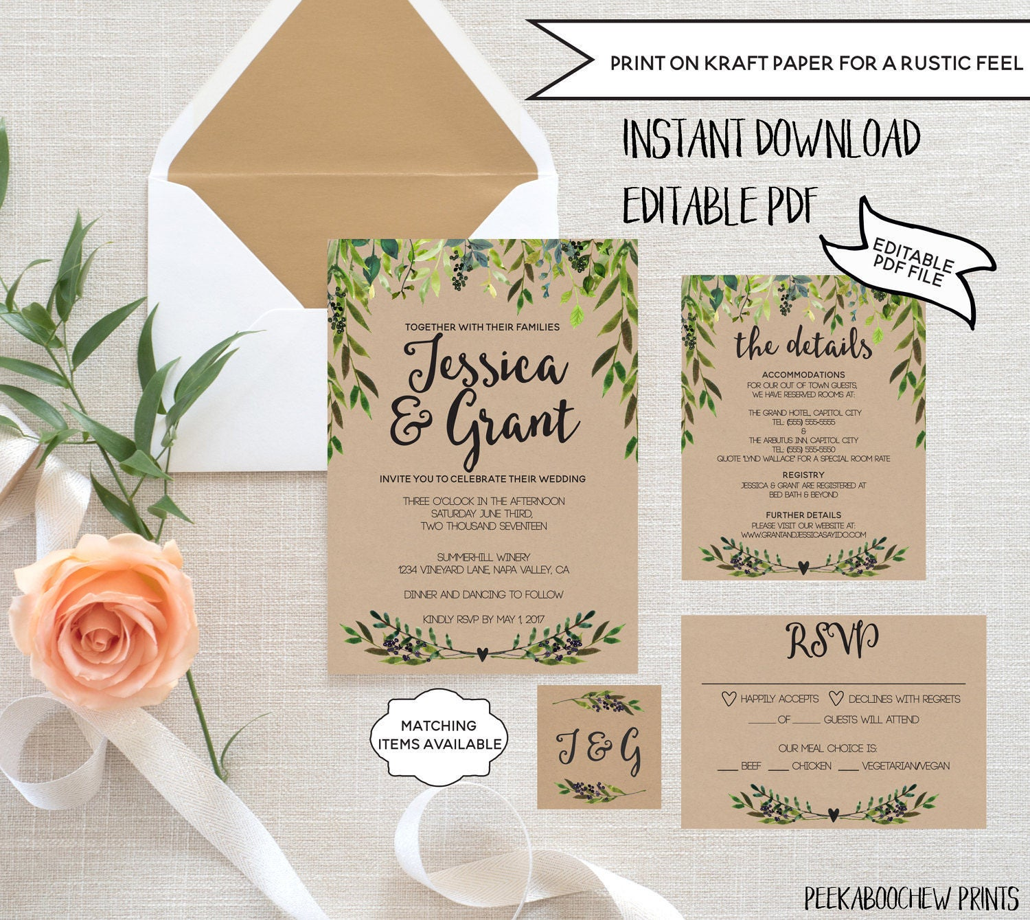 Wedding Invitation Template Set EDITABLE Rustic Invitation