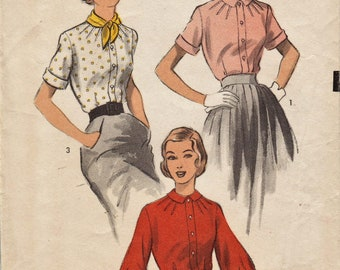 Advance 5900 / Vintage 1950s Sewing Pattern / Blouse Shirt Top / Size 14 Bust 32