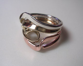 Silver, 14k Gold and Copper  4 Turn Vortex Energy Ring.