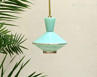 Suspension - hanging diabolo Mint - vintage mid century mint opal glass pendant